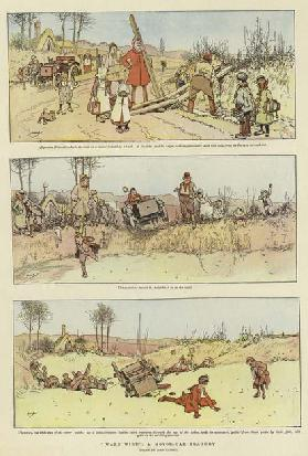 """Ware Wire"", A Motor-Car Tragedy (colour litho)"