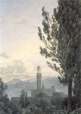 The Palazzo Vecchio from the Boboli Gardens, Florence  & pencil on