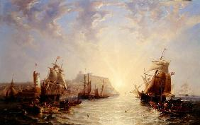 Shipping off Scarborough, 1845 (oil on canvas)