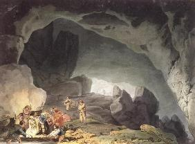 Peaks Hole, Derbyshire (colour engraving)