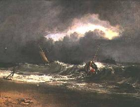Fishermen upon a lee-shore in squally weather