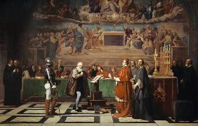 Galileo Galilei avant l'inquisition au Vatican 1632.