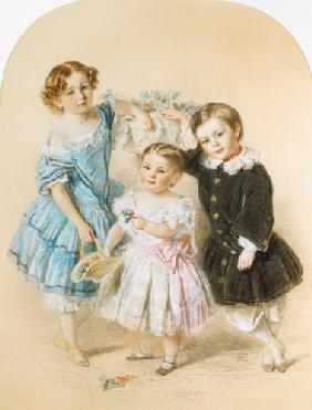 Portrait of three young children