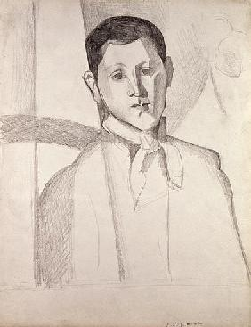 Portrait after Cezanne (crayon on paper)
