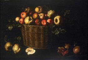Basket with Apples, Quinces and Pomegranates