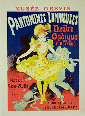 Reproduction of a Poster Advertising 'Pantomimes Lumineuses' at the Musee Grevin