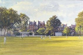 Cricket at Burton Court (oil on canvas)