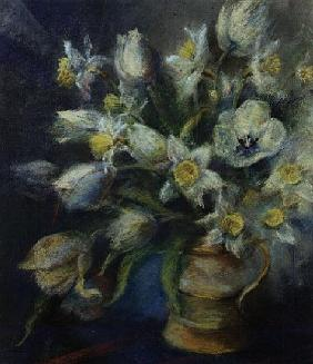 Daffodils, Ice Follies and Tulips, Diana in a brown jug (pastel)
