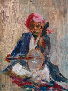 The Sitar Player, 2001 (oil on canvas)
