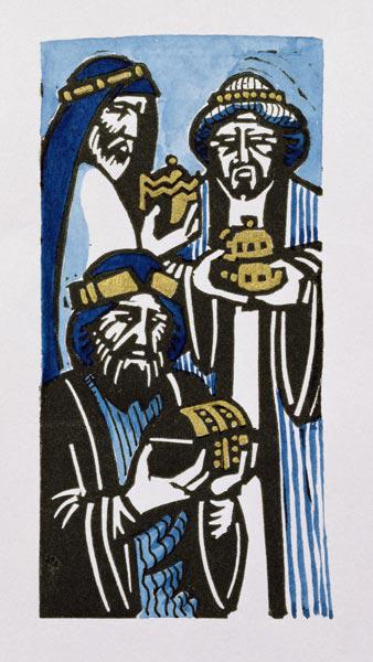 Three Kings, 1998 (linocut and w/c on paper)