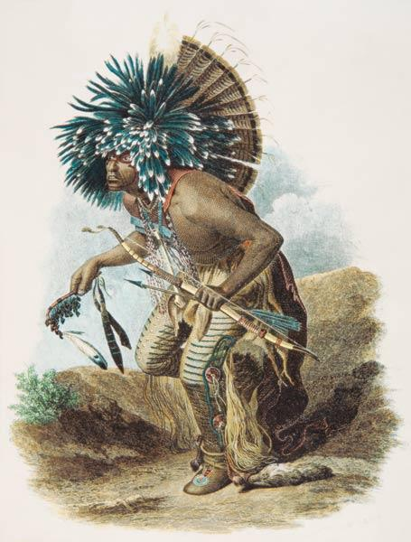 Medicine man of the Mandan tribe in the costume of the Dog Dance, 1834 (colour litho)