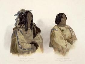 Mehkskeme-Sukahs, Blackfoot Chief and Tatsicki-Stomick, Piekann Chief, plate 45 from Volume 2 of 'Tr