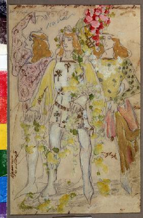 Costume design for the ballet Raymonda by A. Glazunov
