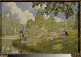 Sleeping Woman in a Park