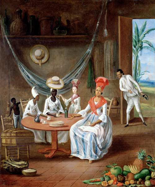 A Mulatto Woman with her White Daughter Visited by Negro Women in their House in Martinique