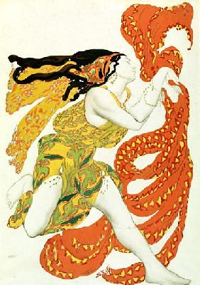 Costume design for a bacchante in ''Narcisse'' by Tcherepnin, 1911(see also 4728)