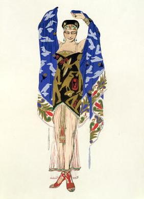 Costume design for a Dancing Girl (colour litho)