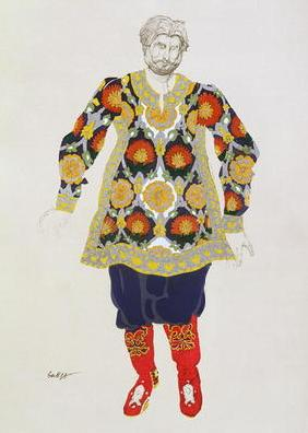 Costume design for a man, from Sadko, 1917 (colour litho)