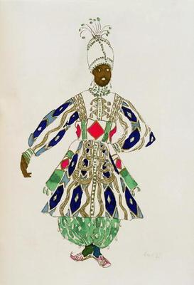 Costume for a 'negro', from Aladdin, 1916 (colour litho)