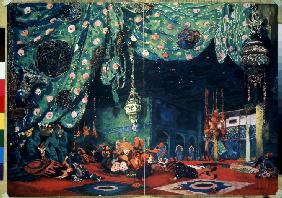 Stage design for the ballet Sheherazade by N. Rimsky-Korsakov