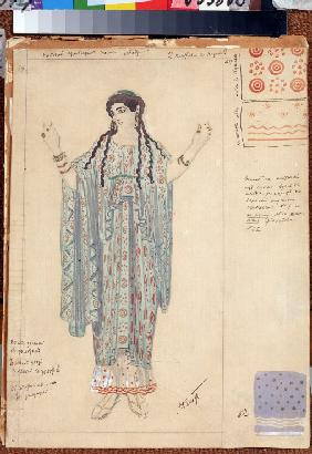 Lady-in-waiting. Costume design for the drama Hippolytus by Euripides