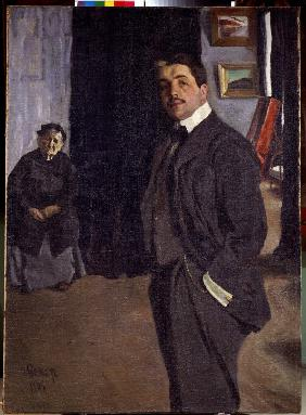 Portrait of Sergei Dyagilev (1872-1929) with his nurse