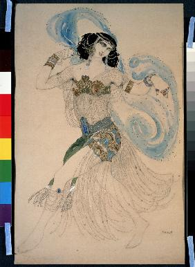 Dance of the seven veils. Costume design for the play Salome by O. Wilde