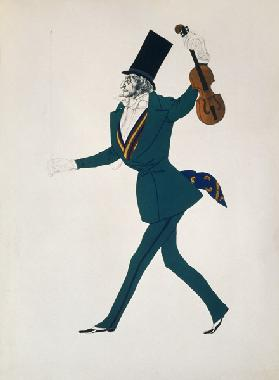 Niccolo Paganini. Costume design for the ballet The Magic Night by F. Chopin