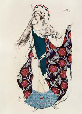 Costume design for a woman, from Judith, 1922 (colour litho)