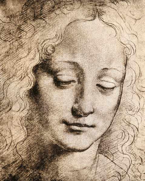 T te d 39 une jeune femme dessin au crayon sur papier de - Dessin de leonard de vinci ...
