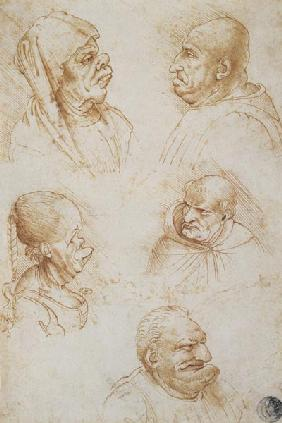 Five Studies of Grotesque Faces