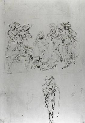 Study for the Adoration of the Shepherds (pen & ink and metal point on paper)