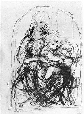 Study for a Madonna with a Cat, c.1478-80 (pen and ink over stylus underdrawing on paper)