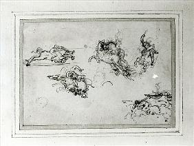 Study of Horsemen in Combat, 1503-4 (pen and ink on paper)