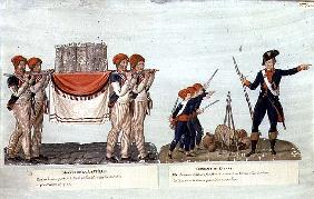 Carrying of the Model of the Bastille and Soldier giving a Lecture to the Children, c.1790