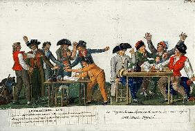 The Republican Oath being signed in blood and singing ''The Marseillaise'', c.1792