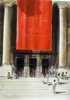 Entrance to the Metropolitan Museum, New York City, 1990 (w/c on paper)