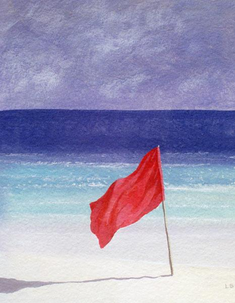 Beach Flag - Storm Warning, 1985 (acrylic on paper)