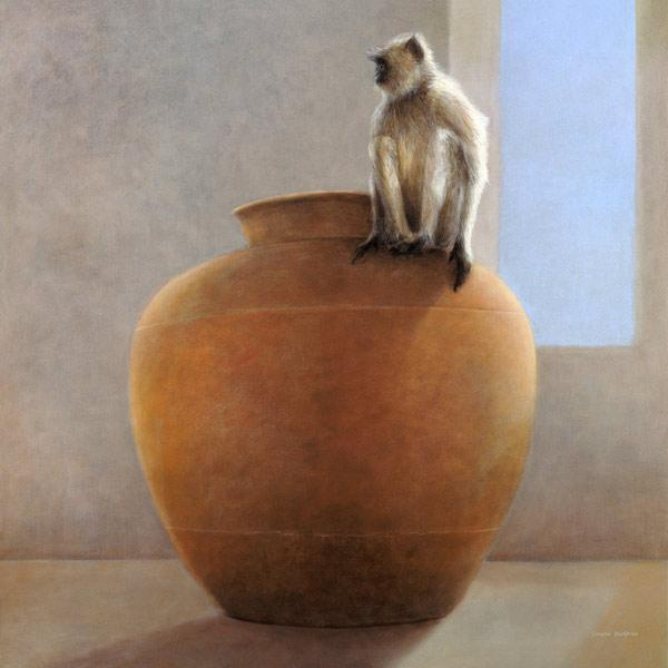 Temple Monkey (oil on canvas)