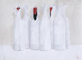 Wrapped bottles 3, 2003 (acrylic on paper)