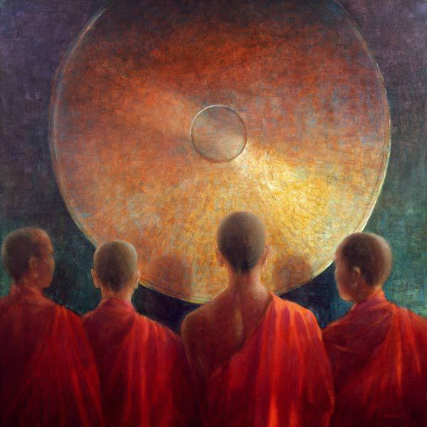 Young Monks with Gong (oil on canvas)