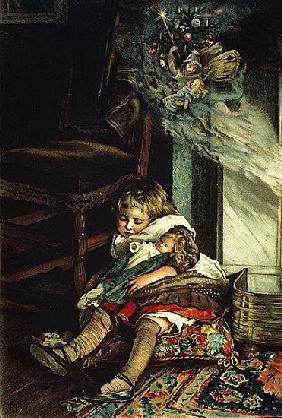Children dreaming of toys, frontispiece of ''A Christmas Tree Fairy'', pub. 1886