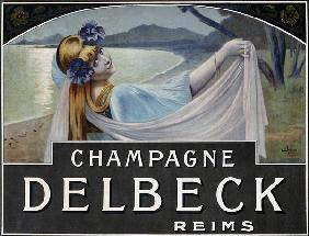 Advertisement for Champagne Delbeck, printed by Camis, Paris, c.1910 (colour litho)