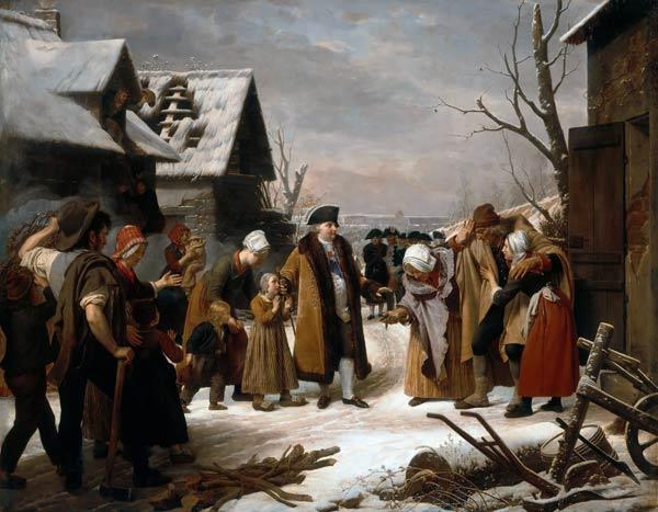Louis XVI Distributing Alms to the Poor - Louis Hersent en reproduction  imprimée ou copie peinte à l'huile sur toile