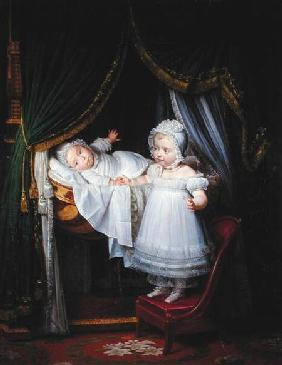 Henri-Charles-Ferdinand of Artois (1820-83) Duke of Bordeaux and his Sister Louise-Marie-Therese of