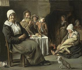 Peasant Interior with an Old Flute Player