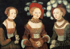 Three princesses of Saxony, Sibylla (1515-92), Emilia (1516-91) and Sidonia (1518-75), daughters of
