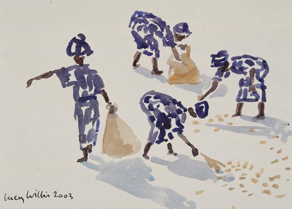 Clearing Leaves, Senegal, 2003 (w/c on paper)