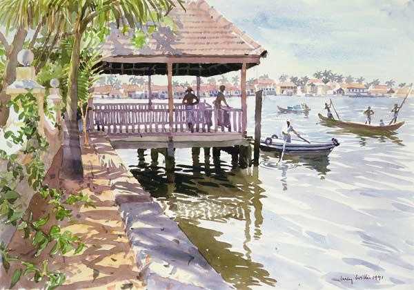 The Jetty, Cochin, 1991 (w/c on paper)