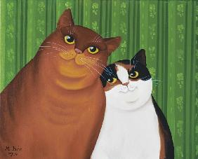 Moggies, 1994 (oil on canvas)